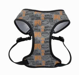 Harley-Davidson Designer Wrap Gray & Orange H-D Adjustable Dog Harness H6463