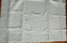White linen Bed sheet with large Appenzell hand embroidered Monogram