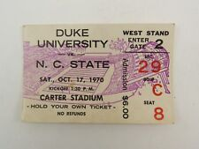 1970 Oct, 17th Duke vs NC State Football game ticket stub Carter Stadium