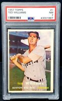 Rare 1957 Topps HOFer Red Sox TED WILLIAMS Card HIGH GRADE - PSA 7 NM - Low Pop!