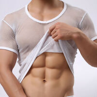 Men Sexy Fishnet Gay Mesh Vest T-shirt Sheer See-Through Perspective Shirt Tops