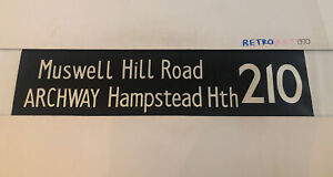 """London Bus Blind Oct18 1977 36""""- 210 Muswell Hill Road Archway Hampstead Heath"""