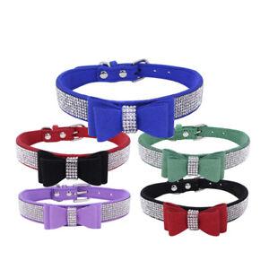 Suede Leather Rhinestone Diamante Dog Collar Soft Bow Tie Cat Puppy Small Pet UK