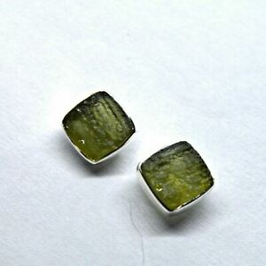 Moldavite 925 Silver Square Stud Earrings Studs Pair Genuine Czech Tektite~Grail