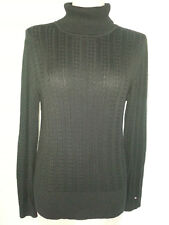 TOMMY HILFIGHER Womens Turtle Neck Cable Knit Sweater Size Large Black Cotton
