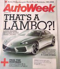 AutoWeek Magazine Lamborghini Estoque Mercedes October 6, 2008 080317nonrh