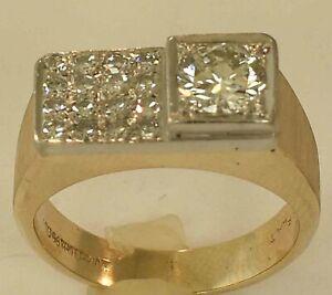 MENS 14K YELLOW GOLD + PLATINUM DIAMOND RING SIZE 7 1/2