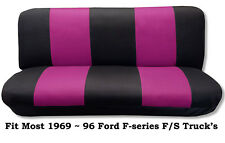 Black/Pink Full Size Bench Seat Cover Fits Most 69-96 Ford F- Series F/S Trucks.