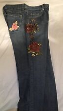 New York & Company Embellished & Sequined Flowered Blue Jeans Sz 8 New With Tag