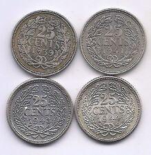 1939,1941,1943,1944 Netherlands Silver Twenty-five  Cents--Strong Details II