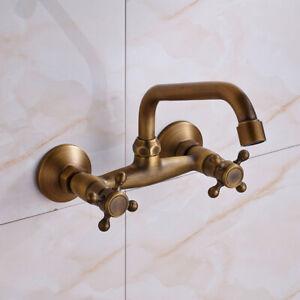 Antique Brass Wall Mount Kitchen Faucet Bathroom Basin Sink Tub Mixer Tap