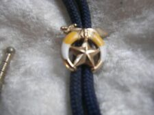Slide Sword Star Shriner'S Brass Tips Blue Bolo Tie With Gold Tone