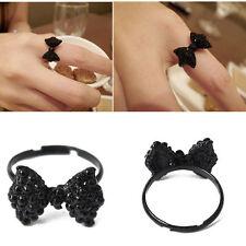 ANILLO LAZO NEGRO AJUSTABLE RETRO 17 MM Fashion black bow rings ENVÍO DE ESPAÑA