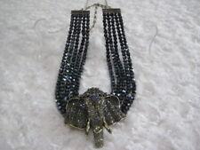 "HEIDI DAUS ""Chic Sheik"" (Tanzanite) Beaded Drop Elephant Necklace (Orig.$299.95)"