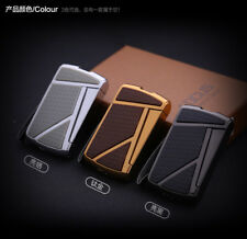 High-end Windproof Jet Torch Butane Refill Cigarette Lighter with Leather Rope