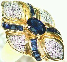 1.91CT 14K Gold Natural Sapphire Round Cut White Diamond Estate Engagement Ring