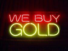 "We Buy Gold Silver Open Neon Lamp Sign 17""x14"" Bar Light Glass Artwork Decor"