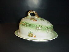 Antique English Ironstone Cheese Keeper Covered Dish Roses 1900's