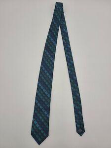"John Ashford Silk Tie Shades of Blue Patterned 58"" X 3.25"" Vintage Men's Fashion"
