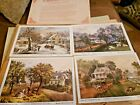 Currier and Ives Set of 4 American Homestead Lithographs