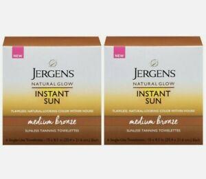 JERGENS Natural Glow Instant Sun MEDIUM BRONZE Sunless Tanning Towel 2x 6pk