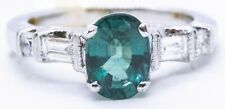 ALEXANDRITE 1.45 CT NATURAL OVAL CUT & DIAMONDS 18 KT WHITE RING GREAT APPEAL