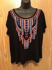 Apt 9 Top Womens Plus Size 0X Short Sleeve Cold Shoulder Black Rayon Graphic