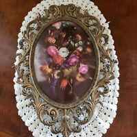 "VTG Ornate Framed Oval Convex Glass Floral Print Italy 13.5"" X 10"" Spring"