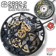 MOVEMENT AUTOMATIC ETA 2892-A2, SKELETON BLACK PVD COATED, FACTORY NEW!