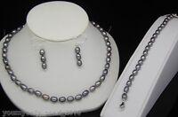 """MP""""Fine Gray Pearl Necklace Earrings Bracelets Set 925s"""