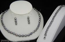 "MP""Fine Gray Pearl Necklace Earrings Bracelets Set 925s"