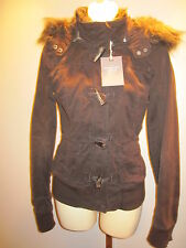NEW ABERCROMBiE & FITCH BROWN TOGGLE TWiLL BOMBER PARKA JACKET FAKE FUR HOODED S