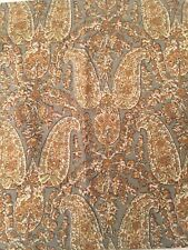 "Pottery Barn Paisley Blue Brown Green  20"" Square Linen Toss Pillowcase EUC"