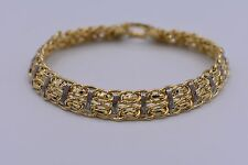 "8.25"" Technibond Double Row Byzantine Bracelet 14K Yellow Gold Clad Silver QVC"
