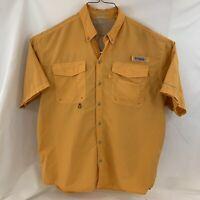 COLUMBIA PFG Orange Sz Large Short Sleeve Shirt Vented Performance Fishing Gear