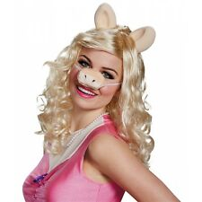 Miss Piggy Costume Wig and Pig Nose Adult The Muppets Halloween Fancy Dress