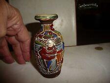 #1228 vtg miniatue  hand painted  Satsuma vase  3 3/4'' tall