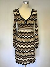 KAREN MILLEN BROWN,BLACK & CREAM ZIG ZAG KNIT DRESS SIZE 1 UK 8/10
