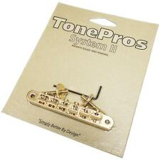 TonePros AVR2P Tuneomatic Bridge,  Locking ABR-1 Upgrade GOLD Notched Saddles