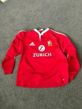 LOINS RUGBY UNION ADIDAS SHIRT USED SIZE L RED LONG SLEEVED