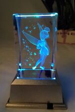 New Tinkerbell Fairy -3D Laser Etched Crystal Block With 4 Lights LED Light base