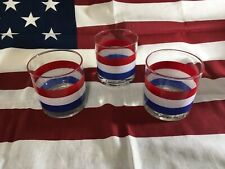 Vintage Georges Briard Mid Century Red White Blue Rocks Cocktail Glass-Each