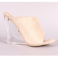 Cape Robbin COTTON CANDY Nude Faux Suede Open Toe Clear Lucite Wedge Heel Mule