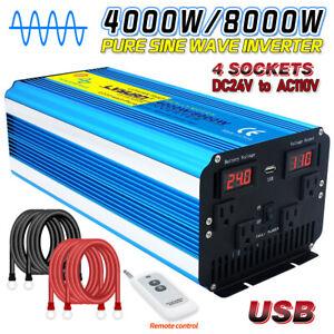 Pure Sine Wave Power Inverter 24V to 110V 120V 8000W 4000W USB Remote Control