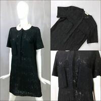 Celine Runway Black Sheer LYCRA LACE Oversized Summer Shirt Dress Size S 36 UK8