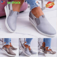 Womens Wedge Heel Round Toe Loafers Sneakers Ladies Slip On Trainer Casual Shoes