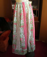 Vintage 70s MEDIUM 26-30w Chessa Davis Maxi Skirt Pink/Green Print Cotton Lace