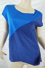 JAG blue two tone spliced modal silk short sleeve tee t-shirt top size S BNWT