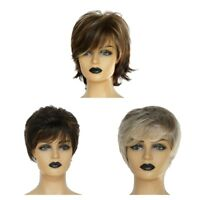 Natural Human Hair Short Curly Pixie Cut Wig with Bangs for Women Wigs Party