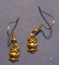 Owl Earrings 24 Karat Gold Plate Tiny Wise Hoot Owls Night